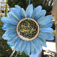 Blue Flower Dream Catcher