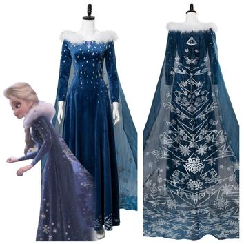 Olaf's Adventure Princess Elsa Dress Cosplay Costume Adult Women Girl Elsa Costume Halloween Carnival Cosplay Costumes