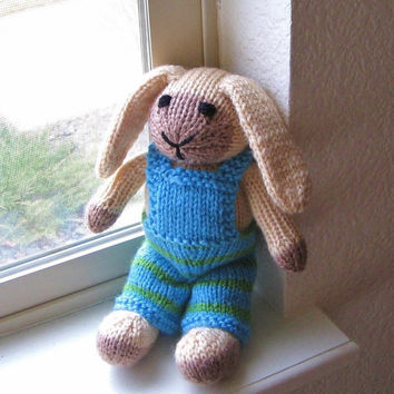 Stuffed Animal Easter Bunny - Hand Knit Plush Doll for Children - Lop Eared Rabbit - Kids Toy - Floppy Eared Bunny