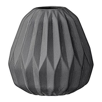 Small black Ceramic Fluted Vase