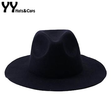 Solid Color Wool Fedoras Women Vintage Trilby Hat With Wide Brim Men Winter Warm Jazz Cap Autumn Panama Hats 8 Colors YY17207