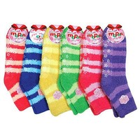 HS Winter Fuzzy Socks Little Stripe Line Design (size 9-11) 6 Colors 6 Pairs