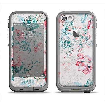 The Coral & Blue Grunge Watercolor Floral Apple iPhone 5c LifeProof Fre Case Skin Set