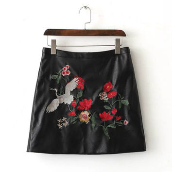 Black Faux Leather Embroidered Mini Skirt