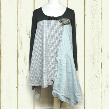 Long Tunic, Linen and Cotton Long Top, Upcycled Clothing, Urban Chic, Eco Friendly Free People Inspired