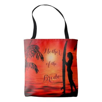Ocean beach sunset mother of the bride favour tote bag
