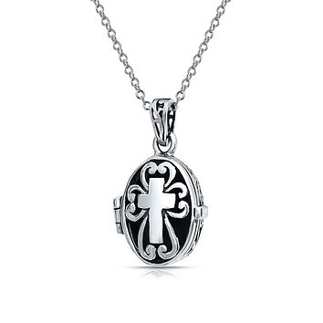 Cross Oval Locket Keepsake Pendant Communion Sterling Silver Necklace