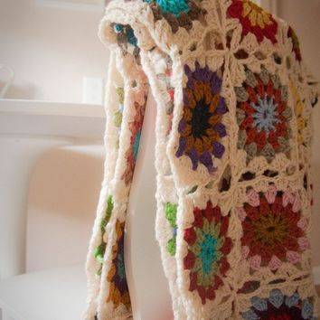 Crocheted Granny Square Afghan for baby by RootOfMischief on Etsy