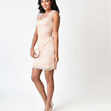 Pink Cut Out Illusion Back Beaded Short Flapper-Style Cocktail Dress
