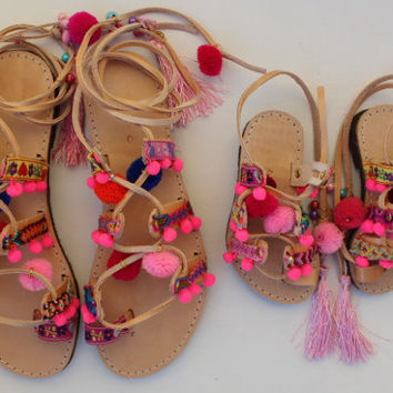 Mommy and me!  Boho Sandals toddler gladiator sandals-pompom sandals-