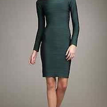Green celebrity bandage bodycon  dress cocktail club evening party long sleeves