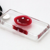 Dexter blood glass slide smiley pendant with individual blood sample- great for halloween- Unofficial