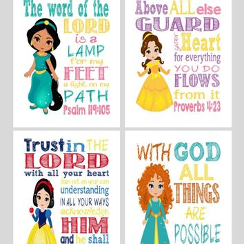 Princess Set of 4 - Christian Nursery Decor Wall Art Print - Mulan, Belle, Snow White and Merida - Bible Verse - Multiple Sizes