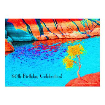 80th Birthday Celebration Yellow Tree, Colorful Invitation