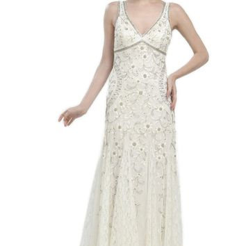 Sue Wong N1118 Gorgeous Antique Embroidered Ivory Wedding Gown - Size 10