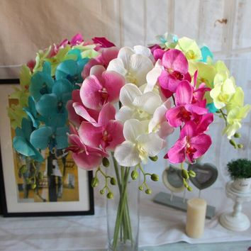 1pc 8 flower fashion craft decoration artificial butterfly orchid bouquet phalaenopsis wedding applique