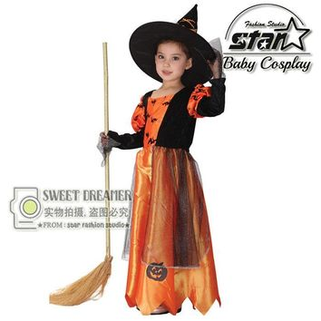 Children Kids Baby Girls Halloween Carnival Party Pumpkin Maxi Dress with Hat Witch Costumes Children Cosplay Clothing
