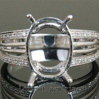 Diamond Engagement Semi Mount Ring 14K White Gold Setting Oval 11x15mm