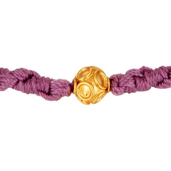 Indian Handmade Macrame Bracelet With 18-Carat Yellow Gold Bead