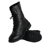 Cool Women Goth Punk Ankle Boots Military Lace-up Martin Combat Short Flat Shoes (US9)