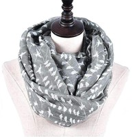 White Black Bird on Tree Branch Infinity Scarf For Women lady scarf navy infinity autumn winter shawl loop scarf female wrap