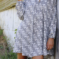 Fade To Fall Long Sleeve Printed Cream & Navy Floral Trapeze Dress