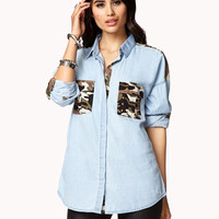 Camo-Trimmed Denim Shirt