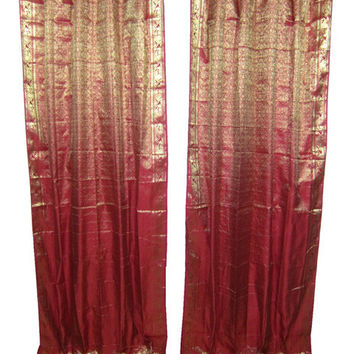 Mogulinterior 2 Dark Red Gold Silk Sari Curtains Panels Window India Boho Drapes