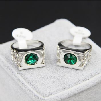 Fashion Jewelry Silver Charm Green Lantern Ring For Men And Women