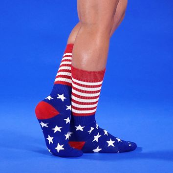 Red Stripes & Stars Crew Socks