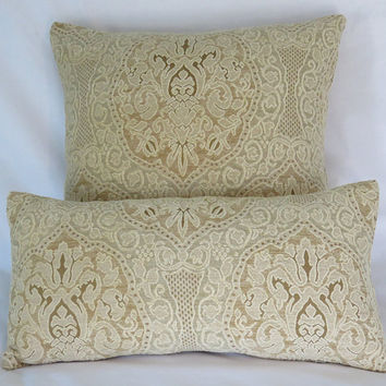 "Cream and Gold Lace Chenille Pillow Cover, 19"" Square Heavy Chenille, Luxury Carved Medallion Texture, Ivory Beige, Ready Ship"