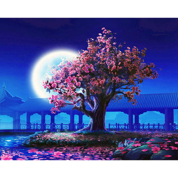 Frameless Romantic Moon Night Landscape DIY Painting By Numbers Kits Modern Wall Art Picture Handpainted For Home Decor 40x50cm