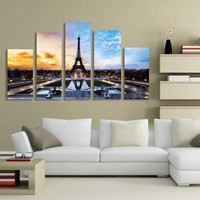 5Pcs Modern Eiffel Tower Picture Canvas Print Home Decor Wall Art(No Framed)