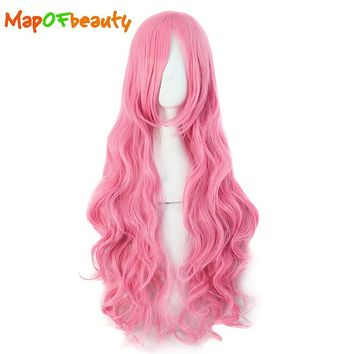 MapofBeauty 32 Inches long wavy pink Cosplay Wigs Peruca Costume Cartoon Role Hairpiece Synthetic Heat Resistant Women Hair