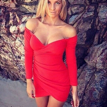 Night Club Deep V Off Shoulder Short Dresses