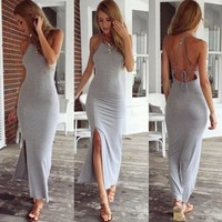 Summer Women's Fashion Sexy Backless Bandages Dress Maxi Dress [6048619073]