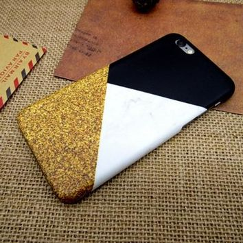 Marble Gold Sparkle Trio Phone Case