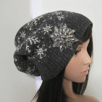 Gorgeous Gray Snowflake Lamb Wool Blend Recycled Sweater Slouch Beanie With Grey Rhinestone Snowflake Accent Winter Sweater Hats Beanies