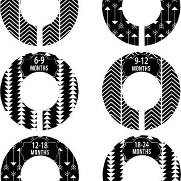 Custom Baby Closet Dividers Boy Girl Grey Arrows Nursery Closet Dividers Baby Shower Gift Baby Clothes Organizers Baby Nursery Organizer