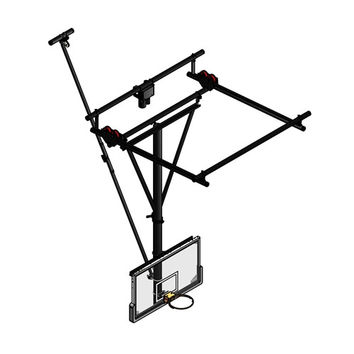 Gared Sports Single Post Ceiling Hung Basketball Backstop, Roll Fold