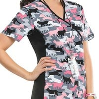 Buy Cherokee Flexibles Women's What's All The Camo-tion? Mock Wrap Knit Panel Printed Scrub Top for $21.45