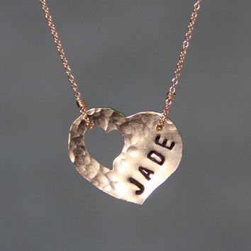 Personalized 14k rose gold filled name monogram heart pendant necklace copper Bridesmaids gifts Free US Shipping handmade Anni Designs