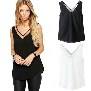 2017 Fashion Women Chiffon Blouses Ladies Mesh Strip Tops Female Sleeveless V-neck Shirt Blousas Feminines White Black Tanks X20