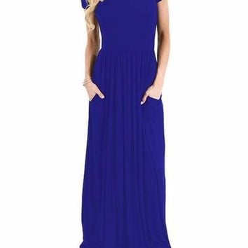 Women's Royal Blue Short Sleeve Casual Party Long Dresses Short Sleeve Ruched Waist Maxi Dress
