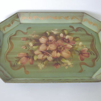 Vintage Tole Tray, Large Hand Painted Floral Tray, Mid Century Home Decor, USA, Green and Tan, Painted Metal Tray, Toleware Tray Serving