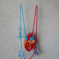Atomical heart veins necklace