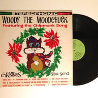 OCTOBER SALE Vinyl Record Woody The Woodchuck Christmas Sing Song LP Album Childrens Kids Jingle Bells