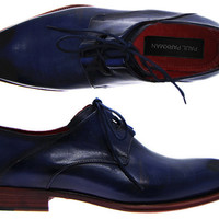 Paul Parkman Men's Sculpted Toe With Ghillie Lacing Dress Shoes - Navy Leather Upper With Double Leather Sole
