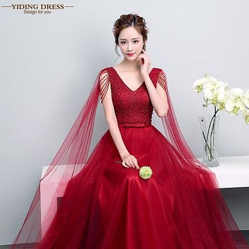 YIDINGZS Robe De Soiree 2017 Ribbons Wine Red Tulle Pearls Long Evening Dresses Elegant Prom Party Dress