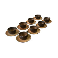 Set of 8 Heath Cups & Saucers, Warm Browns and Tan, Vintage Pottery, Tea Cup and Saucer